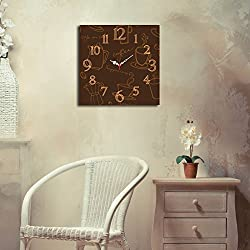 LaModaHome Home Decorative 100% MDF Wall Clock with Art (16 x 16) Ready to Hang Painting/Coffee Pot Cup Espresso Americano Frappucino/MULTI VARIANTS in STORE! by Wallity