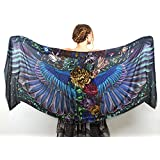 Hand Painted & Printed Pure Cotton Dark Bird Wings Scarf, Shawl, Romantic Gift