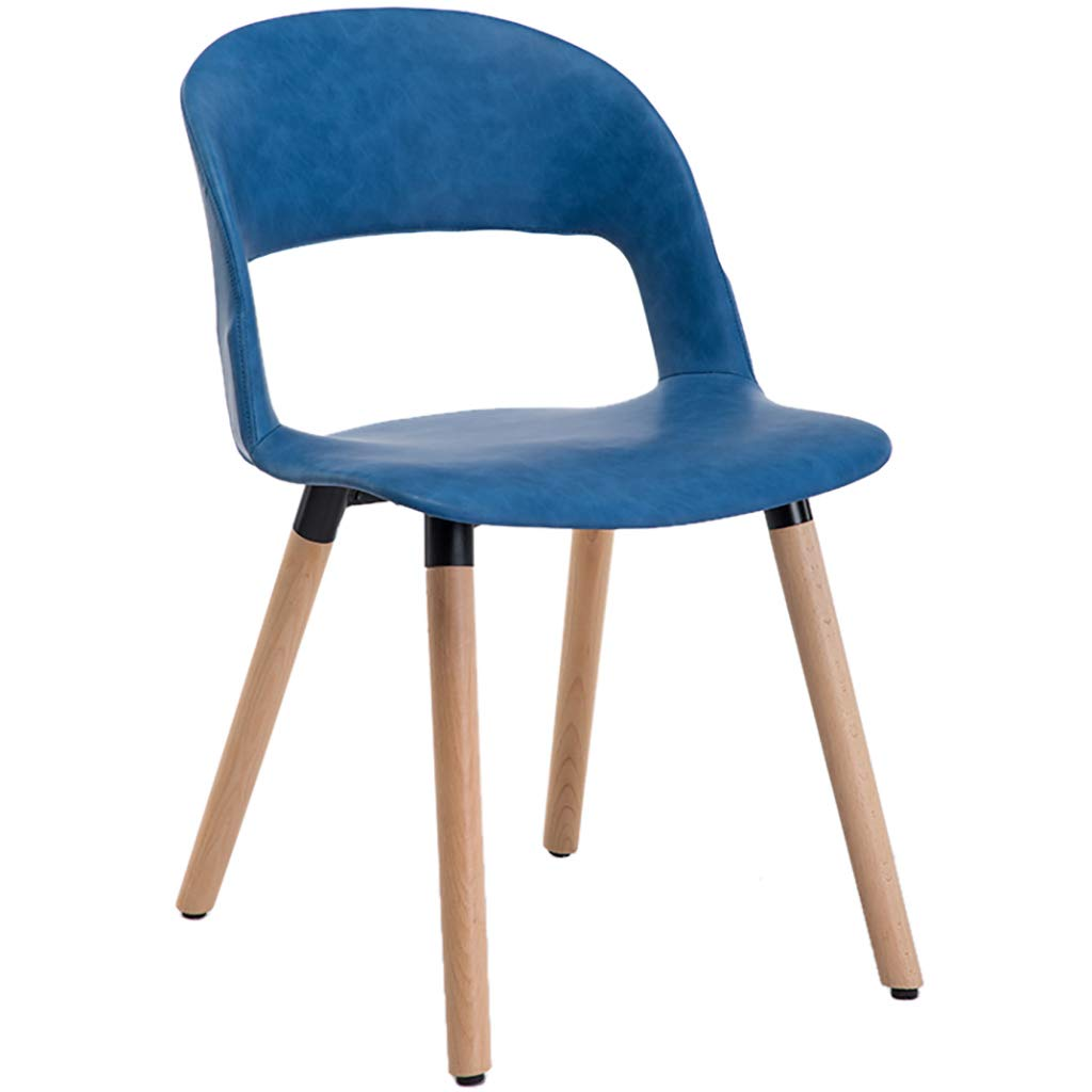 bluee Nordic Creative Solid Wood Dining Chair, Casual Coffee Chair, Leather Seat Cushion, Ergonomic Design, Strong Load-Bearing Capacity, for Restaurant Office Counter Family