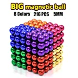 LOVEYIKOAI 8 Colors 5MM Magnetic Magnets Building Set for Office Stress Relief,Desk Sculpture Toy Perfect for Adults,216 PCS Buildable Sculpture Building Blocks Toys