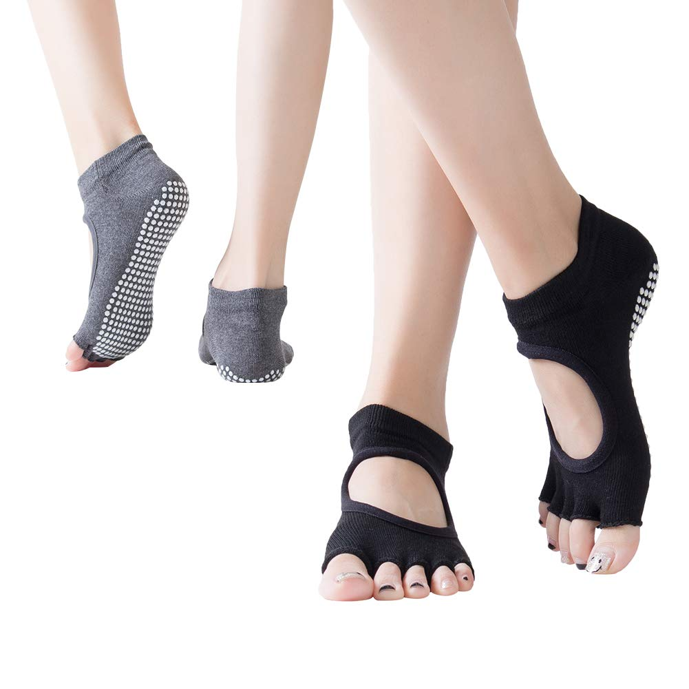 Barre Non Skid Socks/& Five Toeless Socks for Pilates Dance. 2 pairs Ballet Fitness FOCUSIN Dig instep Yoga Socks