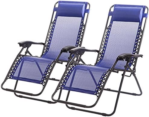 Zero Gravity Chairs Case of 2 Black Lounge Patio Chairs Outdoor Yard Beach Blue
