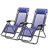 FDW Zero Gravity Chairs Case Of (2) Black Lounge Patio Chairs Outdoor Yard Beach (Blue) For Sale