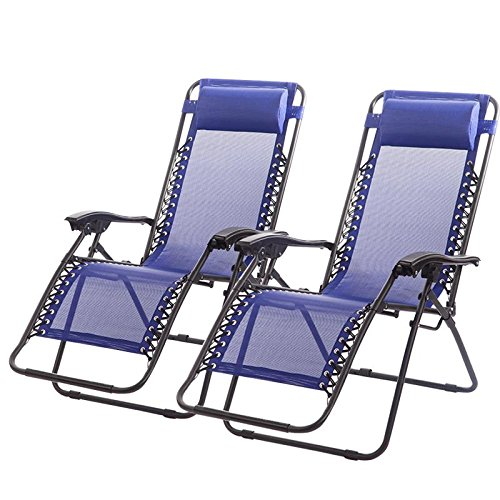 FDW Zero Gravity Chairs Case of (2) Black Lounge Patio Chairs Outdoor Yard Beach (Blue)