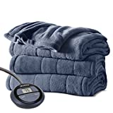 Sunbeam Microplush Heated Blanket with SleekSet Controller, Full, Lagoon
