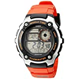 Casio Men's AE-2100W-4AVCF Digital 10-Year Battery Digital Display Quartz Orange Watch