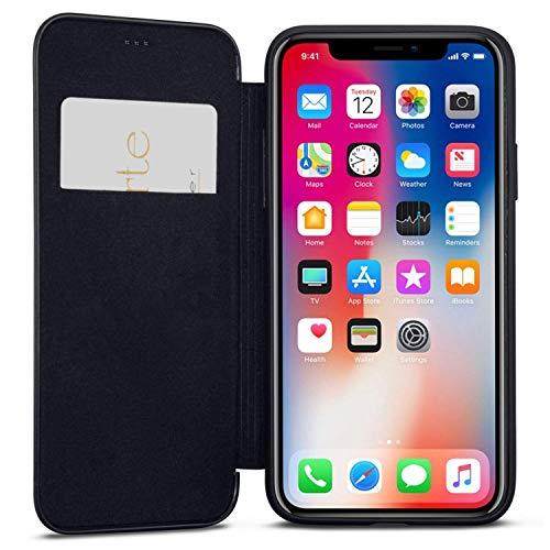 iPhone XR Flip Case Black - CASEZA Dublin PU Leather Case - Premium Vegan Leather Wallet Book Folio Cover for The Original iPhone XR / 10R (6.1 inch) - Ultra - Black Case Flip