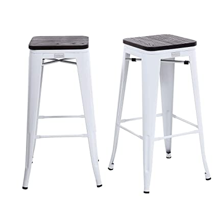 Amazoncom Buschman Set Of 2 White Wooden Seat 30 Inch Bar Height