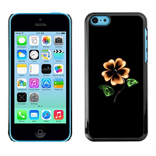 TopCaseStore / caoutchouc Hard Case Housse de protection la Peau - Flower Black Yellow Garden Art Painting Blossom - Apple iPhone 5C