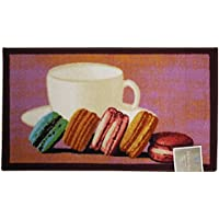 Kashi Home Rectangle Mat with Latex Back Macaroon Collection Kitchen Rug, 18 by 30