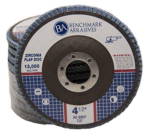 4.5'' x 7/8'' Premium Zirconia Flap Discs Grinding Wheels 80 Grit Type 27-10 Pack by Benchmark Abrasives