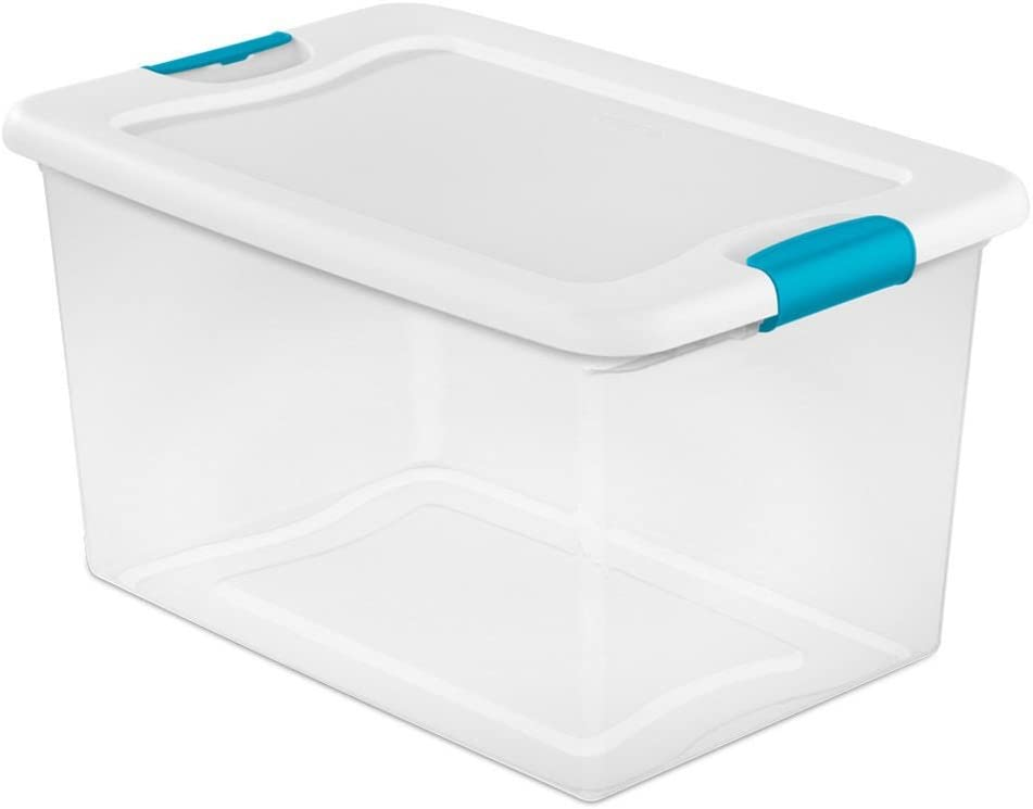 Lunch Box Storage Organizer Plastic Tool Boxes 64 Quart Bins Totes Clear With Blue Latches 6 Pack Durable Construction - Skroutz