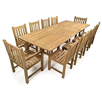 Charmant Große Zehn Person Holz Doppelt Ausziehbarer Outdoor Set, Güteklasse A Teak  Esstisch Set Für