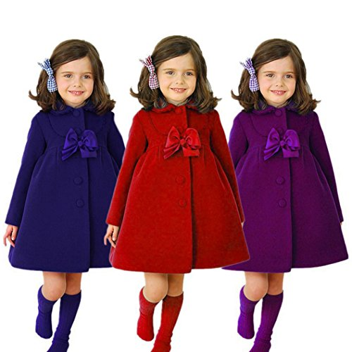 TiTCool Toddler Baby Girls Autumn Winter Cloak Jacket Bow Overcoat Thick Warm Clothes (4T, Red) by TiTCool (Image #6)