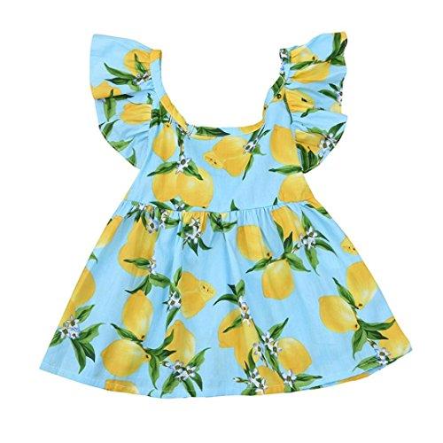 Price comparison product image Amanod 2018 Newborn Baby Girls Lemon Print Zip Princess Dress+Headband Outfits Clothes Set