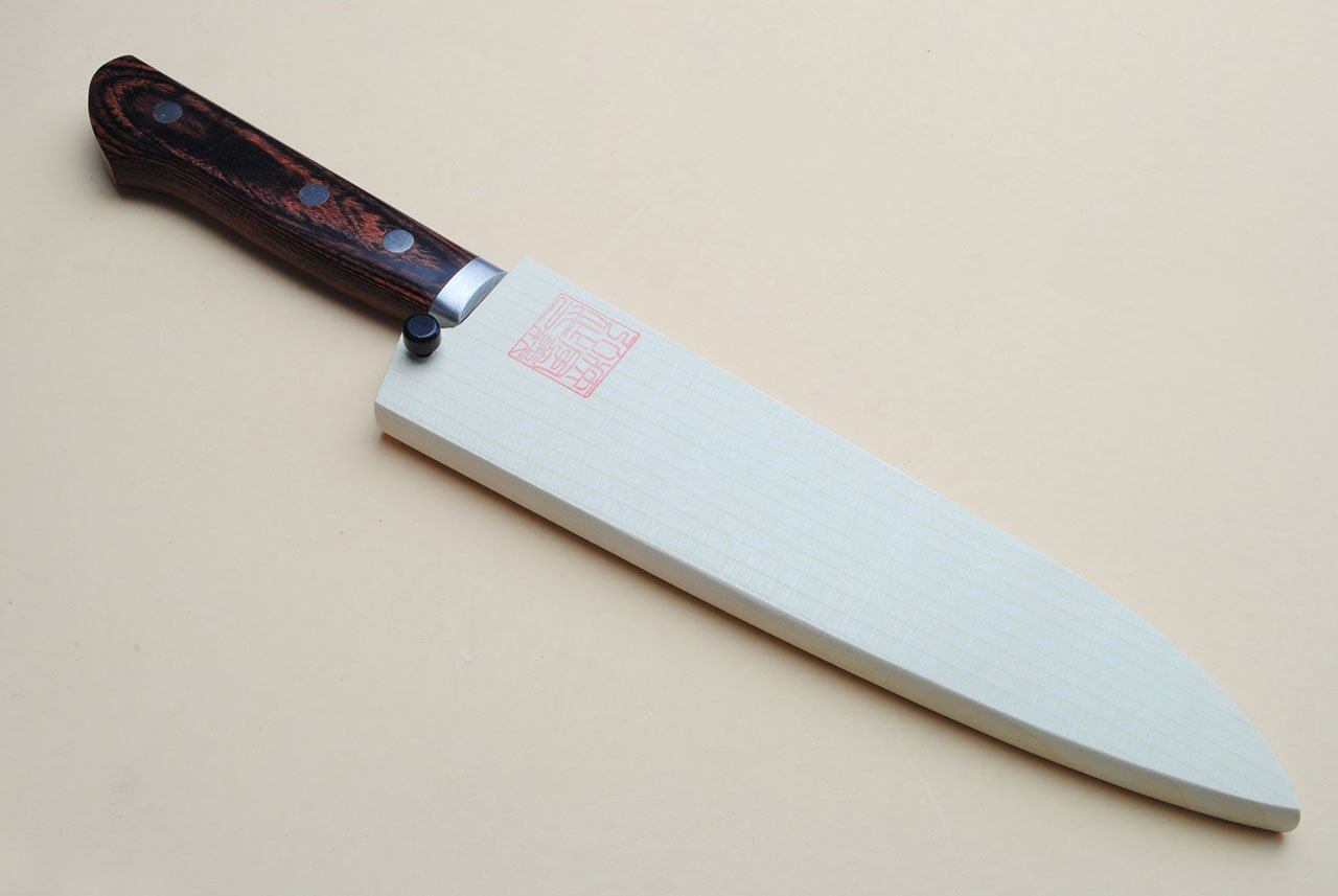 Yoshihiro VG-1 Gold Stainless Steel Gyuto Japanese Chef Knife 7'' (180mm) Magnolia Wood Saya Cover by Yoshihiro (Image #6)
