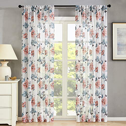 Semi Sheer Curtains Flower Leaf Printed Living Room Cotton Blend Curtain Sheers 72 inches Long Bedroom Peach Red Floral Print Voile Curtain Panels Rod Pocket Drapes Window Treatment Set 2 Panels ()