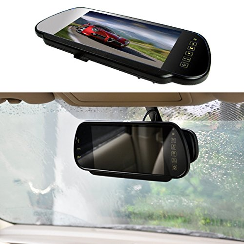 7 Car Auto Monitor In-Mirror LCD Screen HD 800x480, E-KYLIN 12V / 24V Universal for Truck Mirror Mount Clip 2 RCA Input for Backup Camera/Rear view/DVD/Media Player