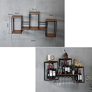 Industrial Wall Mounted Loft Retro Iron Metal Wine Rack Shelf, Wine Bottle | Glass Rack Bar Shelf Wood Holder 12 Wine Glass Storage Unit Floating Shelves Wine Glass Rack for Restaurants, Daily Home