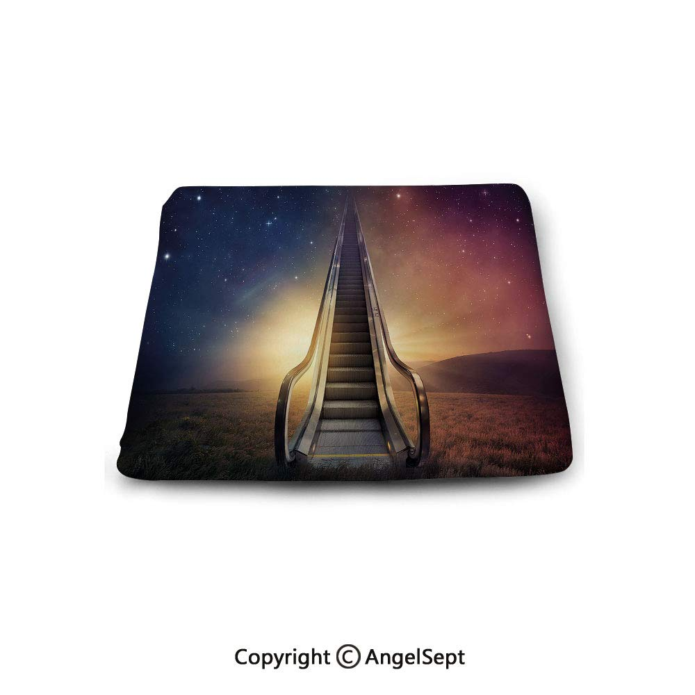 oobon Square Chair Seat Cushion for Kitchen Dining Chairs,Surrealistic,Escalator Up to Space Galaxy Starry Sky Heaven Planetary Road Theme,Night Blue Dried Rose,Memory Butt Pad Non Slip