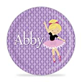 Ballerina Plate - Purple Dots Ballet Dancer Melamine Personalized Plate