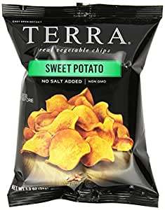 TERRA Sweet Potato Chips, No Salt Added, 1.2 ounce (Pack of 24)