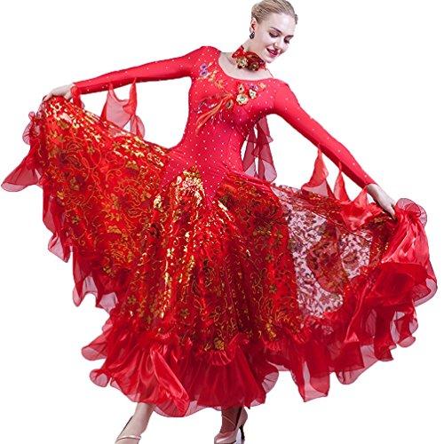 Di Wqwlf Vestito Paillettes Swing Red Per Donne xxl Costumi Ballo Moderno Competizione Da Abiti Sala Le Valzer Prestazione L grqg47x