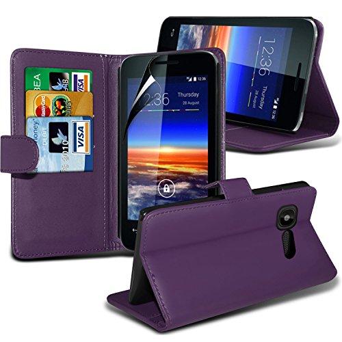 Fone-Case ( Purple ) Vodafone Smart 4 Mini Faux Stylish PU Leather Wallet Credit / Debit Card Flip Case Skin Cover With Screen Protector Guard