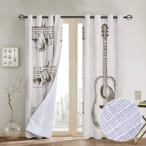 NUOMANAN Decorative Curtains for Living Room Guitar,Sketch Art Style Instrument and Chords Acoustic Flamenco Technique Skill Talent, Cream Brown,Blackout Draperies for Bedroom 100