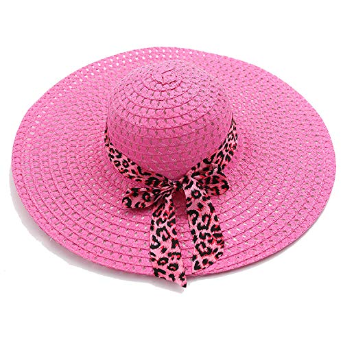 Big Hat Cotton Linen Bow Big Straw Hat Beach Hats,Rose Red,M