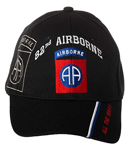 Artisan Owl Officially Licensed US Army 82nd Airborne Division All The Way! Embroidered Adjustable Baseball Cap (Black)