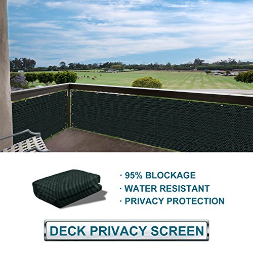 - Coarbor Privacy Fence Screen Mesh for Balcony Porch Verandah Deck Terrace Patio Backyard Railing 160GSM Up to 90% Blockage 3'x15' Green and White Strips