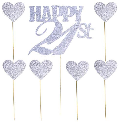 Birthday Heart 21st (Happy 21st Silver Glitter Cake Topper and Love Heart Cupcake Toppers for 21st Birthday, Wedding Anniversary Party Decorations Set of 7)