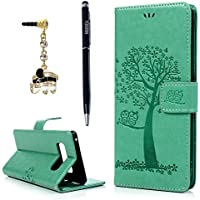 YOKIRIN Galaxy Note 8 Case, Premium PU Leather Emboss Cute Owl Tree Magnetic Folio Flip Stand Wallet Case TPU Inner Wrist Strap ID Credit Card Pockets Skin Cover with Dust Plug Stylus Pen, Mint Green