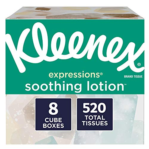 Kleenex Expressions Soothing Lotion Facial Tissues, 8 Cube Boxes, 65 Tissues per Box (520 Tissues Total), Coconut Oil, Aloe and Vitamin