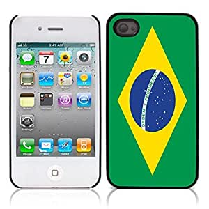 flag of Brazil Hard Plastic and Aluminum Back Case for Apple iphone 4 4S
