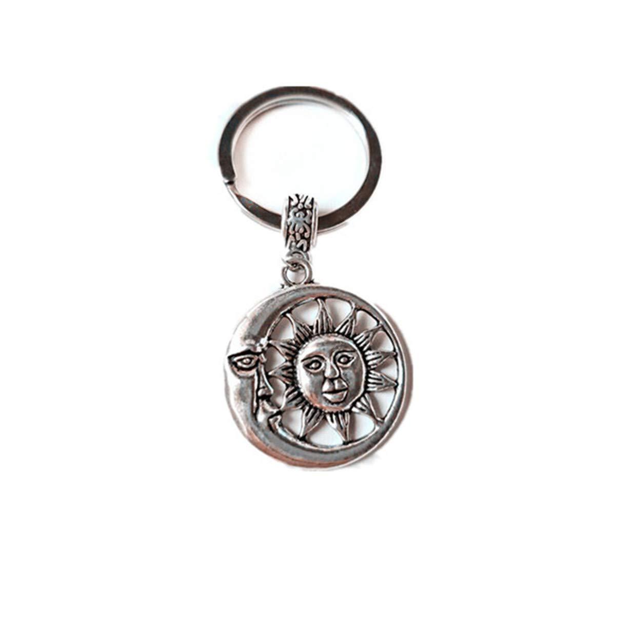 LALANG Retro Lotus Sun Moon Keychain Positive Energy Gift