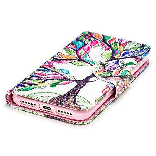 Funda para Xiaomi Redmi 4X,Grandcaser Double Layer Protectora Funda Suave PU Leather Cuero Libro Flip Estuche de Silicona Bumper Flexible Cover Carcasa - Pluma Birdie Árbol Colorido