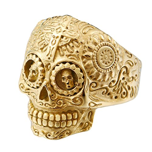 INRENG Stainless Steel Gothic Cross Sugar Skull Rings for Men Vintage Biker Band Flower Carved Halloween Jewelry All Gold Size 9