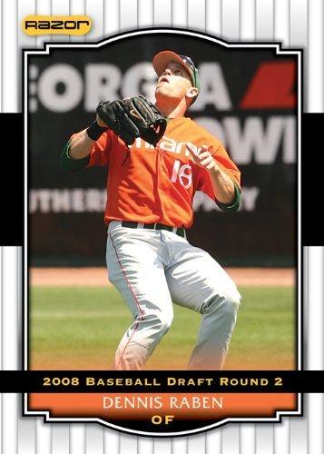 2008 Razor Signature Series WHITE Baseball Card # 91 Dennis Raben (Prospect - RC - Rookie Card) Seattle Mariners - MLB Baseball Trading - Rabens White
