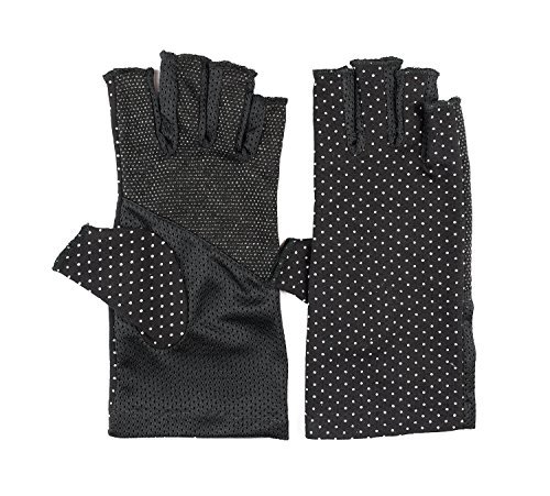 Ladies Fashion Summer Driving Gloves Touchscreen UV Driving Gloves Sun Light Weight Driving Gloves, One Size, Black (Ladies Fingerless Gloves)