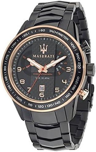 ساعت مچی کوارتز آنالوگ از جنس استنلس استیل سیاه و سفید مردانه Maserati