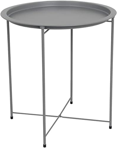 Home Basics , Matte Grey Foldable Round Multi-Purpose Metal Side Accent, Coffee, End Table for Bedroom, Living Room