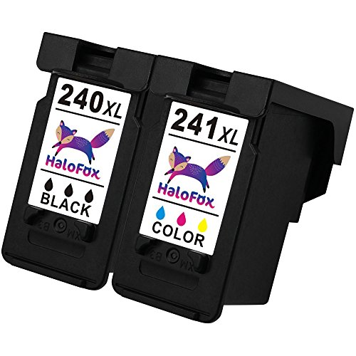 HaloFox Remanufactured Ink Cartridge Replacement PG-240XL CL-241XL Compatible For PIXMA MX432 MX452 MX472 MX512 MX532 MG2120 MG2220 MG3220 MG3222 MG3520 MG3522 MG3620 MG4120, 1 Black+1 Tri-color