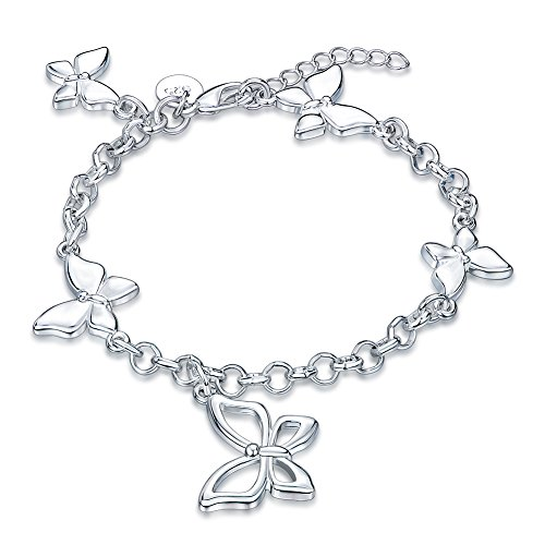 Nocary Valentine`s Day Gifts Dangle Filigree Butterfly Charm Lobster Clasp Link Chain Bangle Bracelet for Women and Girls