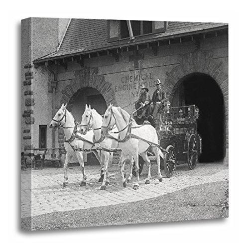 TORASS Canvas Wall Art Print Station Horse Drawn Fire Engine Vintage Firemen Artwork for Home Decor 20