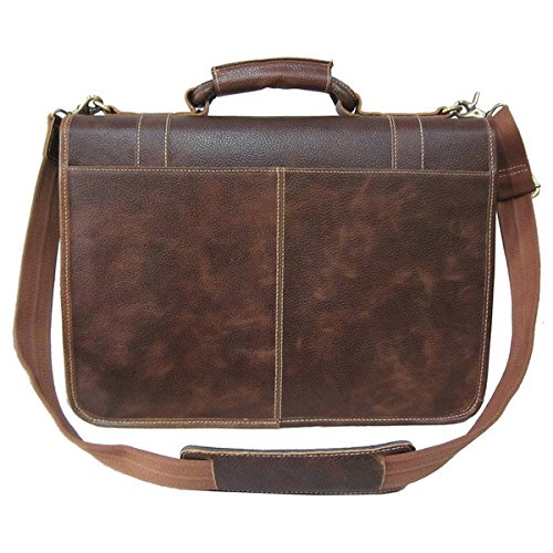 Single Piece Brown Leather Professor Briefcase, Business Type, Softsided Briefcase With Zippered Pockets, Adjustable Leather And Cotton Straps For Comfort