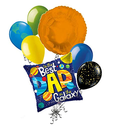 - 7 pc Best Dad in The Galaxy Happy Father's Day Balloon Bouquet Party Decoration