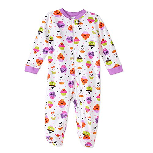 Assorted Policeman, Pumpkin, Cat, Ghost, Skeleton Baby Boys & Girls Halloween Footed Sleeper (0-3 Months, White Cupcakes) for $<!--$19.95-->