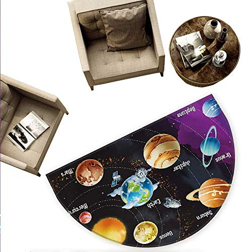 - Outer Space Semicircular Cushion Solar System of Planets Milky Way Neptune Venus Mercury Sphere Illustration Entry Door Mat H 78.7